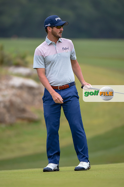 Andrew Landry (USA) watches his putt on 1 during Round 3 of the Valero Texas Open, AT&T Oaks Course, TPC San Antonio, San Antonio, Texas, USA. 4/21/2018.<br /> Picture: Golffile | Ken Murray<br /> <br /> <br /> All photo usage must carry mandatory copyright credit (© Golffile | Ken Murray)