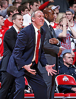 Ohio State Buckeyes head coach Thad Matta shouts to the referees to call a found during the second half of the NCAA men's basketball game between the Ohio State Buckeyes and the Minnesota Golden Gophers at Value City Arena in Columbus, Ohio, on Saturday, Feb. 22, 2014. The Buckeyes overcame a 10-point deficit at the half to defeat the Minnesota Golden Gophers 64-46. (Columbus Dispatch/Sam Greene)