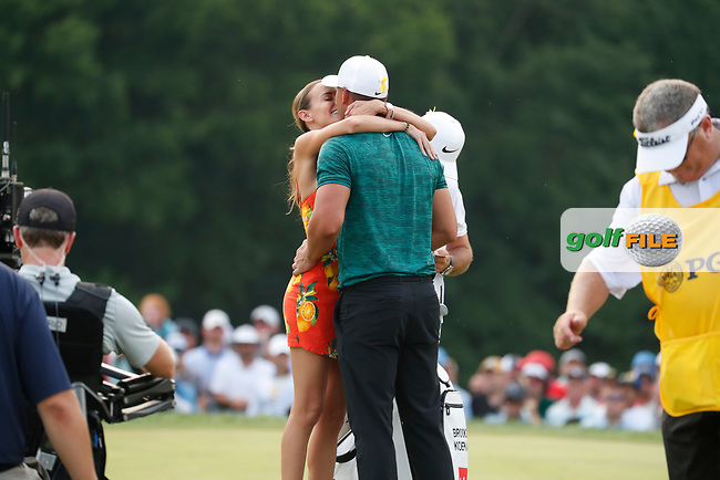 Brooks Koepka (USA) is congratulated by his girlfriend Jena Sims on the 18th green after winning the 100th PGA Championship at Bellerive Country Club, St. Louis, Missouri, USA. 8/12/2018.<br /> Picture: Golffile.ie | Brian Spurlock<br /> <br /> All photo usage must carry mandatory copyright credit (© Golffile | Brian Spurlock)
