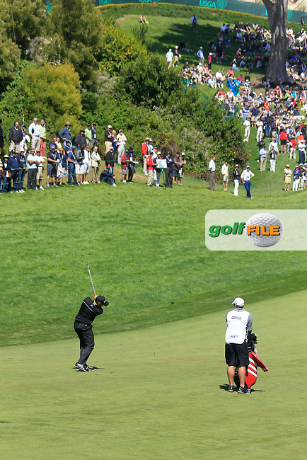 Sergio Garcia (ESP) plays his 2nd shot into the 18th green during Friday's Round 2 of the 112th US Open Championship at The Olympic Club, San Francisco,  California, 15th June 2012 (Photo Eoin Clarke/www.golffile.ie)