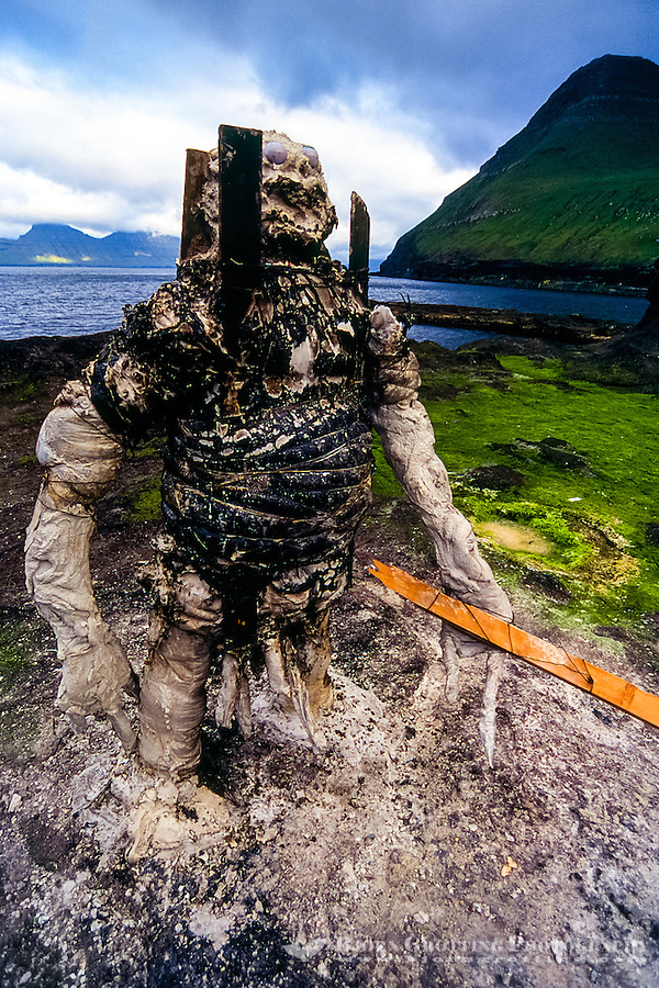 Faroe Islands. Art at Gjogv on the northeast tip of the island of Eysturoy.