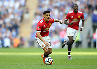 19th May 2018, Wembley Stadium, London, England; FA Cup Final football, Chelsea versus Manchester United; Alexis Sanchez of Manchester United on the ball