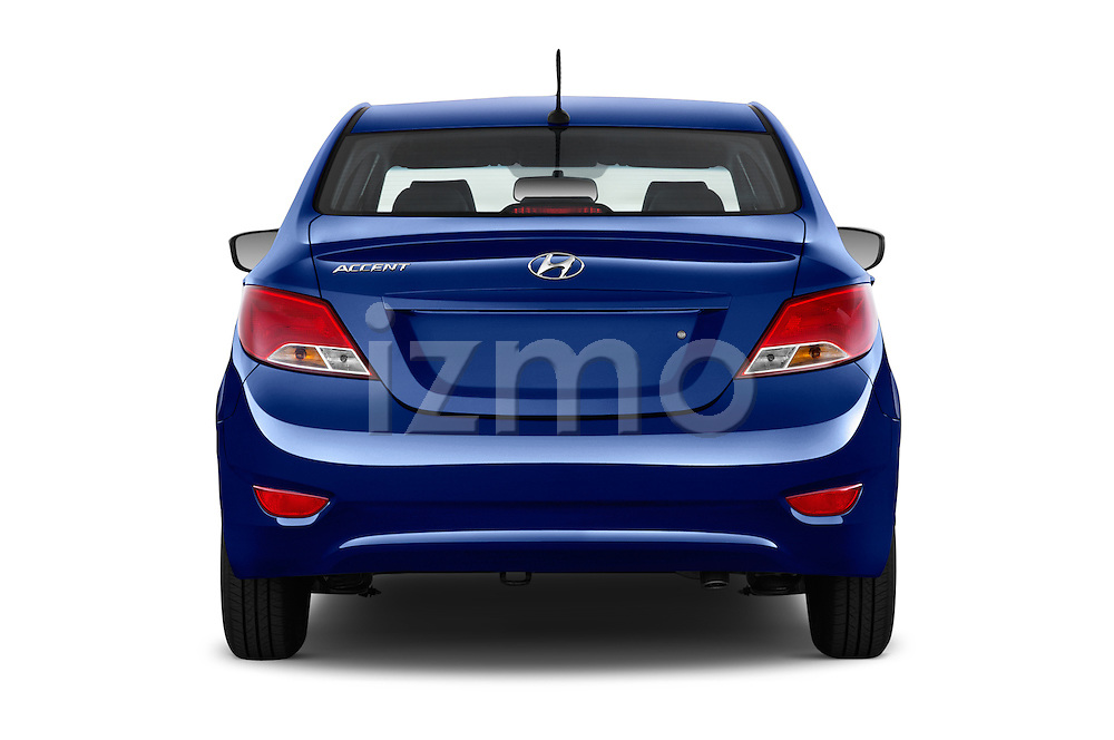 Straight rear view of 2016 Hyundai Accent SE 4-Door 6-Speed Automatic 4 Door Sedan Rear View  stock images