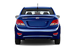 Straight rear view of 2017 Hyundai Accent SE 4-Door 6-Speed Automatic 4 Door Sedan Rear View  stock images