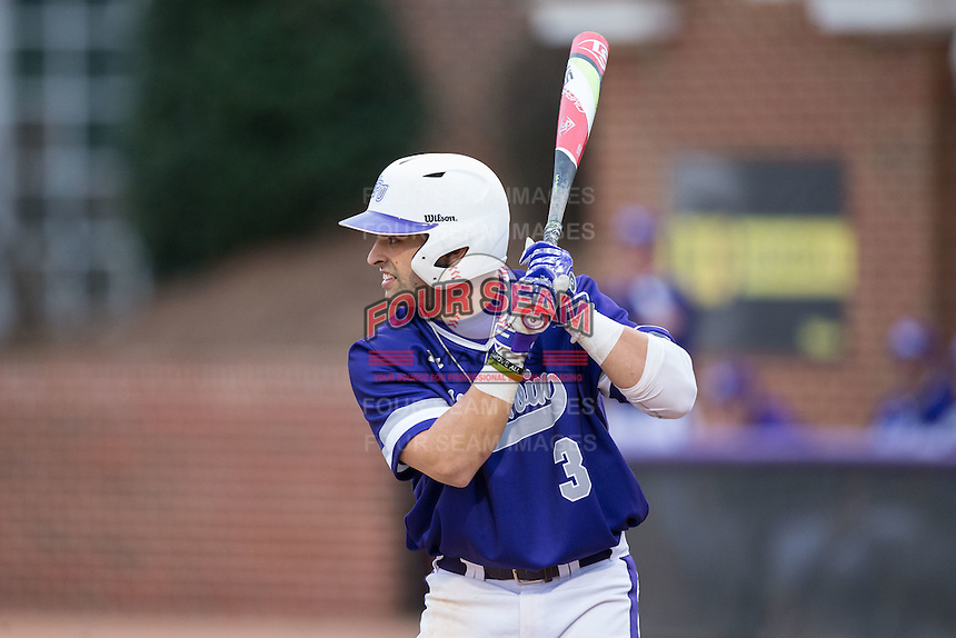 Tim Mansfield (3) of the High Point Panthers at bat against the NJIT Highlanders during game two of a double-header at Williard Stadium on February 18, 2017 in High Point, North Carolina.  The Highlanders defeated the Panthers 4-2.  (Brian Westerholt/Four Seam Images)