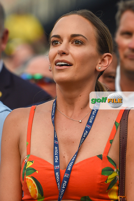 Brooks Koepka's (USA) fiance, Jena Sims watches the video board as Brooks Koepka (USA) lines up his final putt to win the 100th PGA Championship at Bellerive Country Club, St. Louis, Missouri. 8/12/2018.<br /> Picture: Golffile | Ken Murray<br /> <br /> All photo usage must carry mandatory copyright credit (© Golffile | Ken Murray)