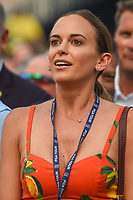 Brooks Koepka's (USA) fiance, Jena Sims watches the video board as Brooks Koepka (USA) lines up his final putt to win the 100th PGA Championship at Bellerive Country Club, St. Louis, Missouri. 8/12/2018.<br /> Picture: Golffile | Ken Murray<br /> <br /> All photo usage must carry mandatory copyright credit (&copy; Golffile | Ken Murray)