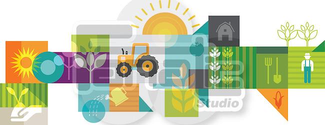 Illustrative collage of farming
