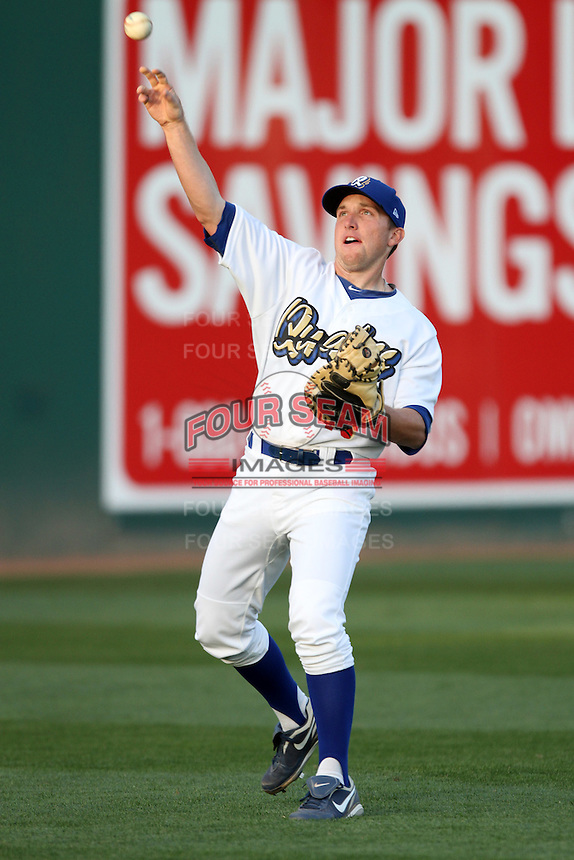 Steve Cilladi #15 of the Rancho Cucamonga Quakes throws before a game against the Inland Empire 66'ers at The Epicenter on April 7, 2012 in Rancho Cucamonga,California. Rancho Cucamonga defeated Inland Empire 5-4.(Larry Goren/Four Seam Images)