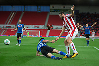 Ian Henderson of Rochdale is denied a penalty after Erik Pieters of Stoke City brings him down during the Carabao Cup match between Stoke City and Rochdale at the Britannia Stadium, Stoke-on-Trent, England on 23 August 2017. Photo by James Williamson / PRiME Media Images.