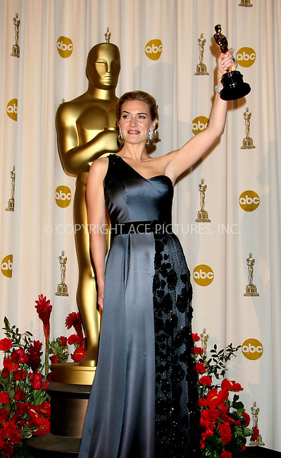 Feb 22, 2009 - Hollywood, California, USA - Actress KATE WINSLET, winner for 'Best Performance by an Actress in a leading Role' for 'The Reader' in the pressroom at the 81st Annual Academy Awards held at the Kodak Theatre in Hollywood...(Credit Image: ©  /ZUMA Press)