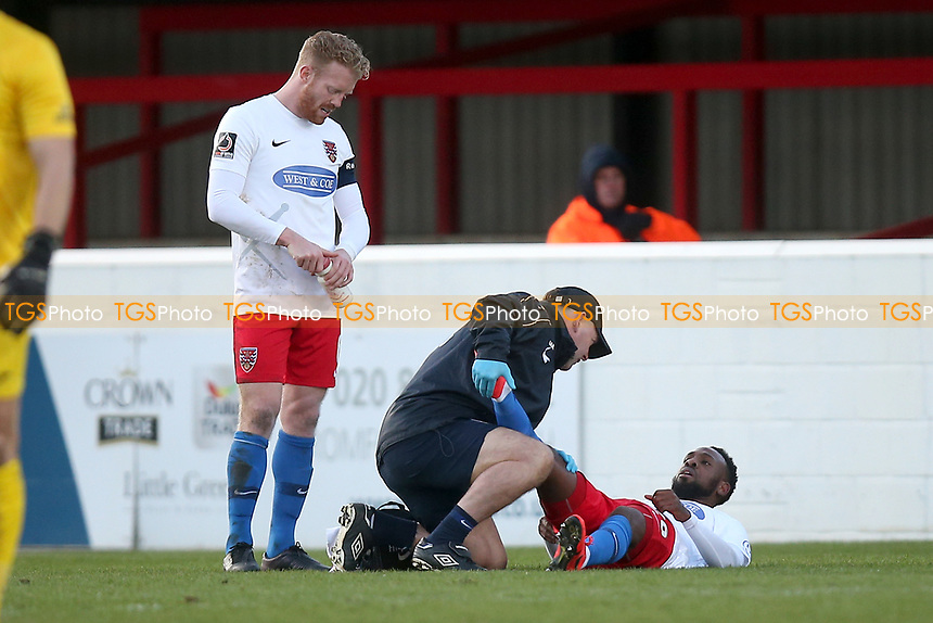Injury concern for Myles Weston of Dagenham during Dagenham & Redbridge vs Stockport County, Vanarama National League Football at the Chigwell Construction Stadium on 8th February 2020