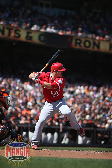 SAN FRANCISCO, CA - MAY 2:  Mike Trout #27 of the Los Angeles Angels bats against the San Francisco Giants during the game at AT&T Park on Saturday, May 2, 2015 in San Francisco, California. Photo by Brad Mangin
