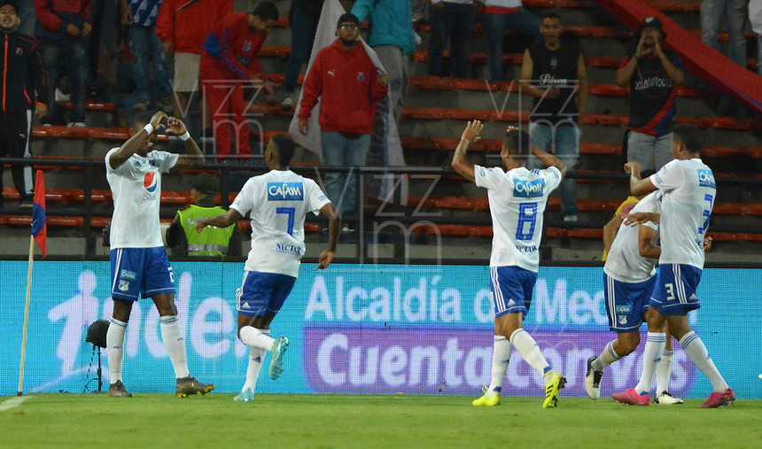 MEDELLÍN - COLOMBIA .21-09-2019:Fabián González Lasso  jugador de Millonarios celebra después de anotar un gol al Independiente Medellín  durante partido por la fecha 12 de la Liga Águila II 2019 jugado en el estadio Atanasio Girardot de la ciudad de Medellín. /Fabian Gonzalez Lasso player of Millonarios  celebrates after scoring a goal agaisnt  of Independiente Medellin during the match for the date 12 of the Liga Aguila II 2019 played at the Atanasio Girardot  Stadium in Medellin  city. Photo: VizzorImage /León Monsalve / Contribuidor.