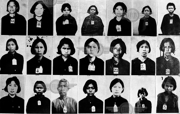 Photographs on the wall of Tuol Sleng museum, formerly the S-21 Khmer Rouge detention centre, where over 16,000 inmates were killed between 1975 and 1979. The Khmer photographed every prisoner before they were killed.