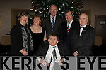 HAPPY: Enjoying their new years dinner in The Manor West Hotel, Tralee on Thursday 31st December 09. L-r: Julie O'Connor, John O'Connor, Tom Hardiman,Noel Lee and Nicky Fitzgibbon.. ....