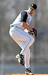 24 April 2007: University of Vermont Catamounts' Eric Thompson, a Junior from Norwich, CT, on the mound against the Dartmouth College Big Green at Historic Centennial Field, in Burlington, Vermont. Thompson picked up his second win of the season, scattering 12 hits in the 11-5 victory over the Big Green...Mandatory Photo Credit: Ed Wolfstein Photo