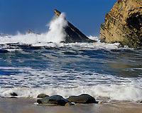 Crashing waves on the Pacific Ocean at Simpson Beach; Shore Acres State Park, OR