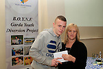 Darren Mulhern presents Catriona Culligan with a cheque for Drogheda Youth Development at the Boyne Garda Youth Project Awards in the Holy Family Community Centre...Photo NEWSFILE/Jenny Matthews..(Photo credit should read Jenny Matthews/NEWSFILE)