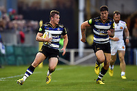 Chris Cook of Bath Rugby in possession. West Country Challenge Cup match, between Bath Rugby and Exeter Chiefs on October 10, 2015 at the Recreation Ground in Bath, England. Photo by: Patrick Khachfe / Onside Images