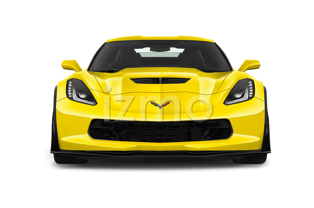 Car photography straight front view of a 2016 Chevrolet Corvette Z06-Coupe-1LZ 3 Door Targa Front View