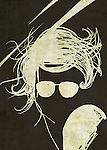 Illustration of woman wearing sunglasses over black background