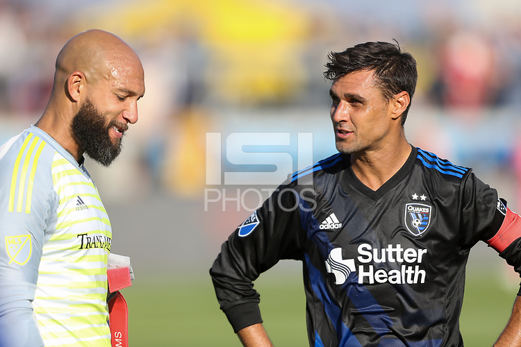 San Jose, CA - Sunday October 21, 2018: Chris Wondolowski, Tim Howard during a Major League Soccer (MLS) match between the San Jose Earthquakes and the Colorado Rapids at Avaya Stadium.