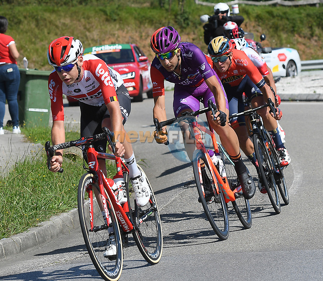 The breakaway during Stage 14 of La Vuelta 2019  running 188km from San Vicente de la Barquera to Oviedo, Spain. 7th September 2019.<br /> Picture: Karlis | Cyclefile<br /> <br /> All photos usage must carry mandatory copyright credit (© Cyclefile | Karlis)