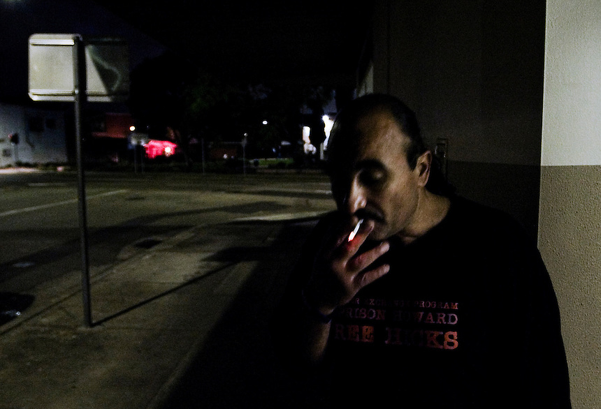 Mamdouh Habib smokes a cigarette during a break from a campaign meeting in Lidcombe, Western Sydney, March 2007. Habib spent three years in the infamous Guantanamo Bay prison before being released and returning to Australia in 2005. Photo: Ed Giles.