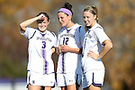 21 October 2012: Northwestern's Julie Sierks (3), Margo McGinty (12) and Nicole Jewell (5). The Northwestern University Wildcats played the University of Iowa Hawkeyes at Lakeside Field in Evanston, Illinois in a 2012 NCAA Division I Women's Soccer game. Northwestern won the game 1-0.