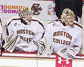 Parker Milner (BC - 35), Brad Barone (BC - 29) - The Boston College Eagles defeated the visiting Boston University Terriers 5-2 on Saturday, December 1, 2012, at Kelley Rink in Conte Forum in Chestnut Hill, Massachusetts.