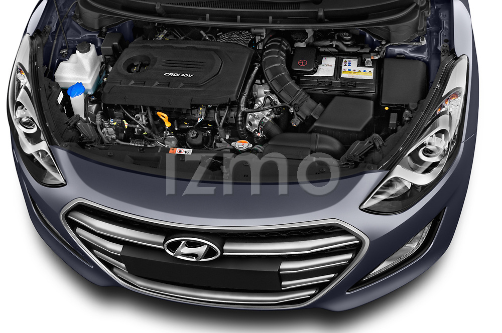 Car Stock 2015 Hyundai I30 Go 5 Door Wagon Engine  high angle detail view