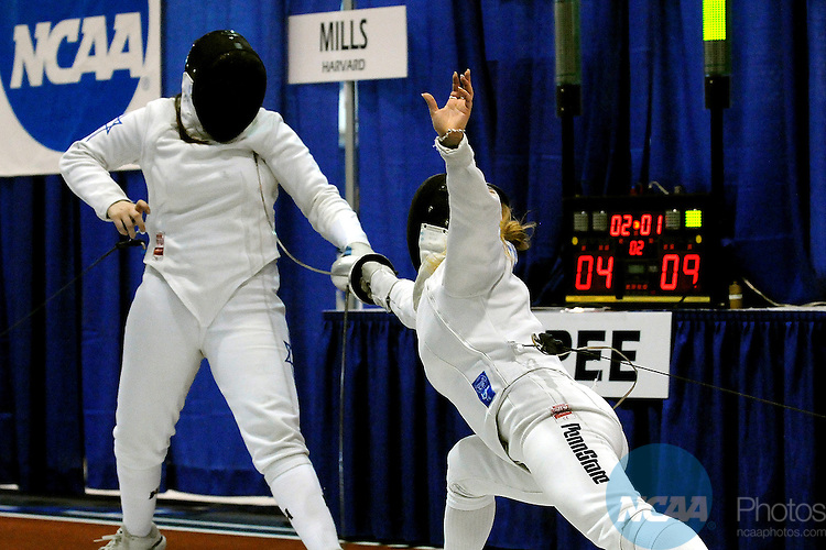 22 MARCH 2009: Anastasia Ferdman of The Pennsylvania State University makes a move  against Noam Mills of Harvard University during the Division I Women's Fencing Championship in the weapon of Epee held at the Multi-Sport Facility on the Penn State University campus in University Park, PA. Ferdman defeated Mills for a 15-9 victory.  Steve Manuel/NCAA Photos