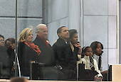 "Washington, DC - January 18, 2009 -- United States President-elect Barack Obama and his wife Michelle at the ""We Are One""  The Obama Inaugural Celebration at the Lincoln Memorial on Sunday, January 18, 2009.  From left to right: Jill Biden, Vice President-elect Joseph Biden, President-elect Obama, Sasha Obama, Michelle Obama, unidentified, Malia Obama..Credit: Dennis Brack - Pool via CNP"