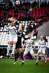 16.03.2019, Stadion Essen, Essen, GER, AFBL, SGS Essen vs TSG 1899 Hoffenheim, DFL REGULATIONS PROHIBIT ANY USE OF PHOTOGRAPHS AS IMAGE SEQUENCES AND/OR QUASI-VIDEO<br /> <br /> im Bild | picture shows:<br /> Kopfballduell zwischen Lena Oberdorf (SGS Essen #19) und Tanja Pawollek (FFC Frankfurt #31), <br /> <br /> Foto &copy; nordphoto / Rauch