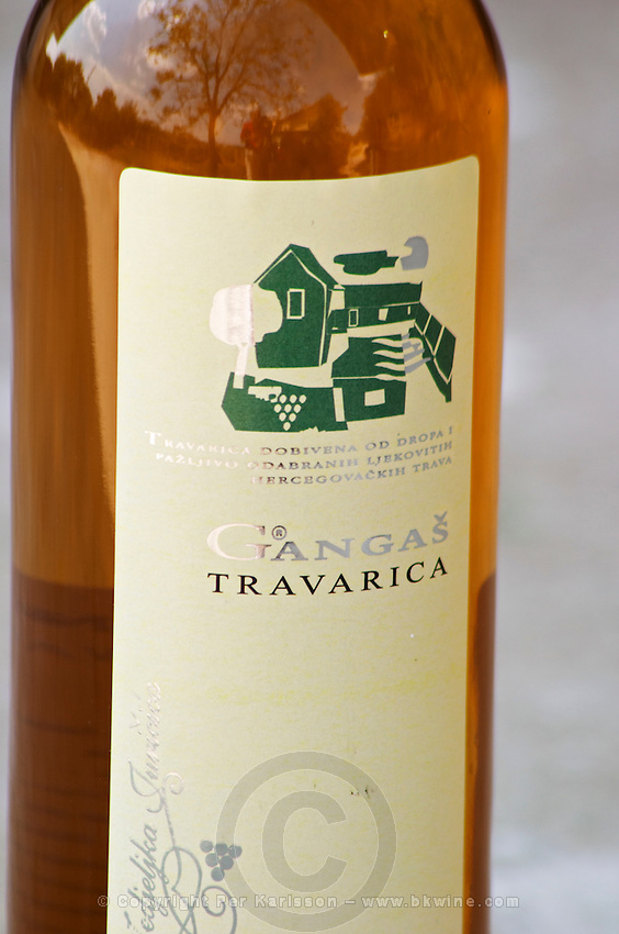 Bottle of Gangas Travarica herb spiced alcohol. Label detail. Vita@I Vitaai Vitai Gangas Winery, Citluk, near Mostar. Federation Bosne i Hercegovine. Bosnia Herzegovina, Europe.