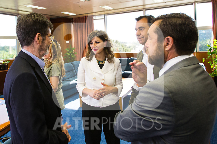 Miguel Angel Gutierrez of Ciudadanos, Yolanda Diaz of Unidos Podemos, Jose Enrique Serrano of Partido Socialista and  Fernando Martinez Maillo of Partido Popular during the debate on agreements with representatives of the four major political forces at the headquarters of the newspaper La Razon . 19,06,2016. (ALTERPHOTOS/Rodrigo Jimenez)