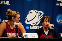 NORFOLK, VA--With an onlooking Joslyn Tinkle, Head Coach Tara Van derVeer fields questions from the media at the Ted Constant Convocation Center at Old Dominion University in Norfolk, VA for the first and second rounds of the 2012 NCAA tournament.