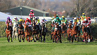 14h April 2018, Aintree Racecourse, Liverpool, England; The 2018 Grand National horse racing festival sponsored by Randox Health, day 3; Horses successfully jump The Chair fence in The Grand National