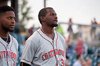 Chattanooga Lookouts Michael Beltre (39) during the national anthem before a Southern League game against the Birmingham Barons on May 2, 2019 at Regions Field in Birmingham, Alabama.  Birmingham defeated Chattanooga 4-2.  (Mike Janes/Four Seam Images)