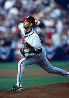 John Smoltz of the Atlanta Braves participates in a Major League Baseball game at Dodger Stadium during the 1998 season in Los Angeles, California. (Larry Goren/Four Seam Images)