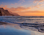 Kauai, Hawaii: Distant ridges of the Na Pali Coast at sunset - from Kee Beach