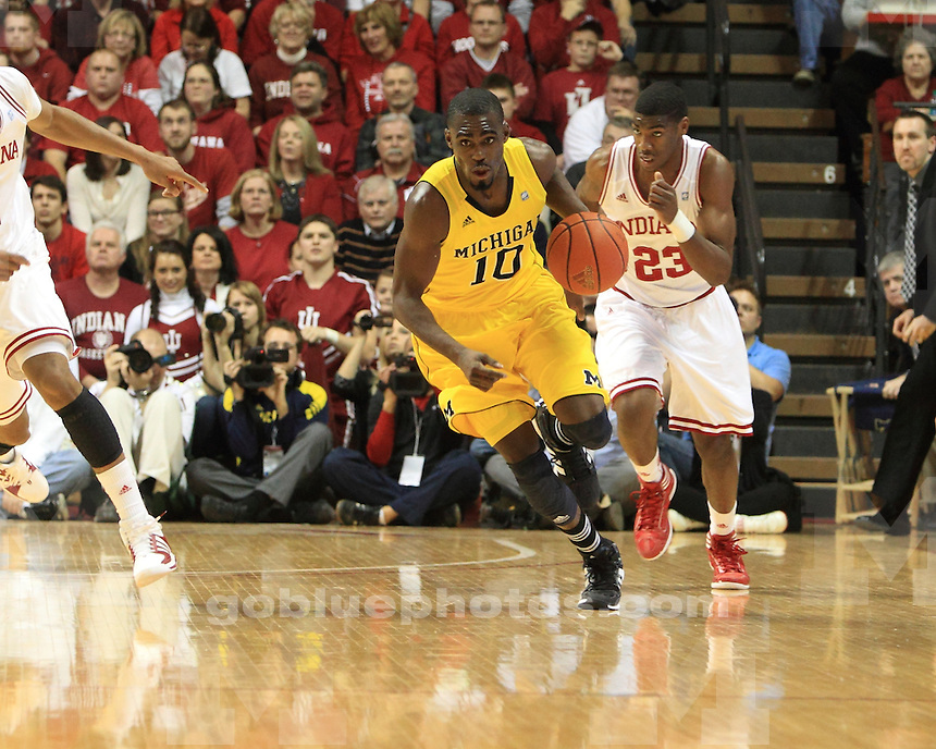 The University of Michigan men's basketball team lost to Indiana University 73-71 in Bloomington, In. on January 5, 2012.