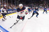 American Joseph Taylor Compher in action during the Ice Hockey World Championship quarter-final match between the US and Finland in the Lanxess Arena in Cologne, Germany, 18 May 2017. Photo: Marius Becker/dpa /MediaPunch ***FOR USA ONLY***