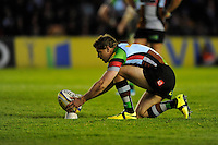 Nick Evans of Harlequins prepares to take a conversion attempt during the Aviva Premiership match between Harlequins and Leicester Tigers at the Twickenham Stoop on Friday 18th April 2014 (Photo by Rob Munro)