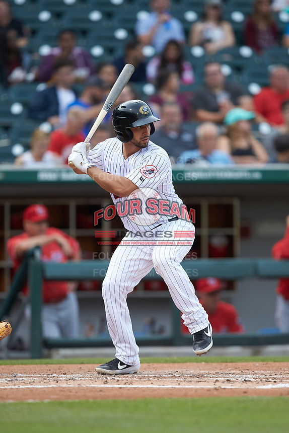 Seby Zavala (5) of the Charlotte Hornets at bat against the Louisville Bats at BB&T BallPark on June 22, 2019 in Charlotte, North Carolina. The Hornets defeated the Bats 7-6. (Brian Westerholt/Four Seam Images)