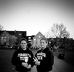 VATech shootings Day 2..Sophomores (l-r) Alix Davis and Ashley Shifle attend the Candlelight vigil on the Drill Field....photo: Hector Emanuel
