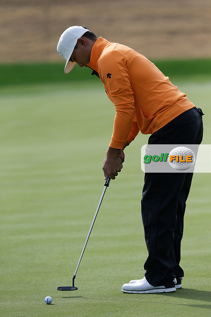 Whee Kim (KOR) putts on the 17th green during Thursday's Round 1 of the 2017 CareerBuilder Challenge held at PGA West, La Quinta, Palm Springs, California, USA.<br /> 19th January 2017.<br /> Picture: Eoin Clarke | Golffile<br /> <br /> <br /> All photos usage must carry mandatory copyright credit (&copy; Golffile | Eoin Clarke)