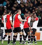 Nederland, Rotterdam, 31 maart 2012.Eredivisie.Seizoen 2011-2012.Feyenoord-NAC Breda.Ruben Schaken van Feyenoord viert een feestje nadat hij de 2-1 heeft gescoord. (V.l.n.r.) Otman Bakkal, Ron Vlaar, Sekou Cisse, Ruben Schaken van Feyenoord