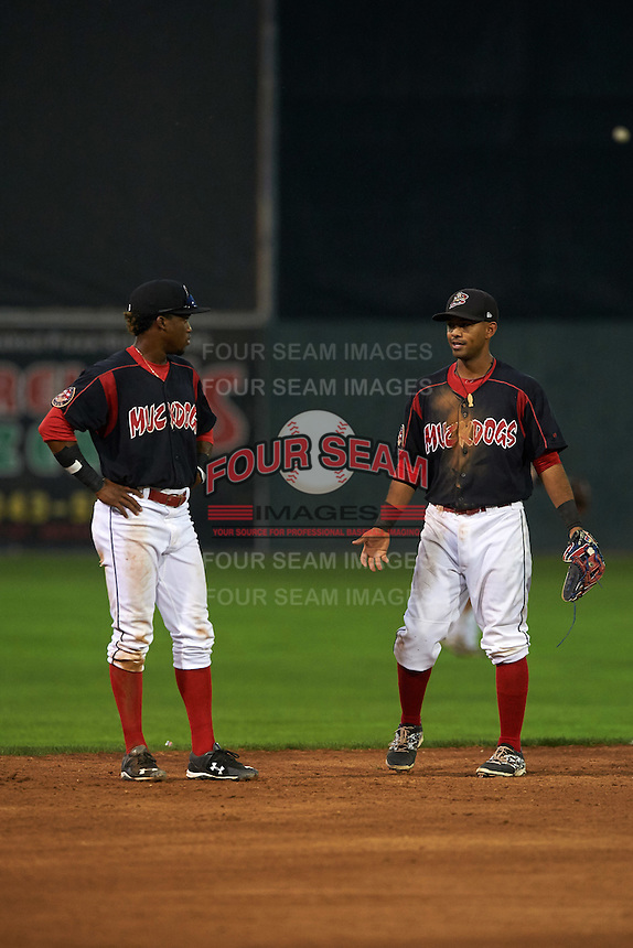 Batavia Muckdogs shortstop Anfernee Seymour (3) and second baseman Giovanny Alfonzo (8) during a game against the Auburn Doubledays on September 5, 2015 at Dwyer Stadium in Batavia, New York.  Batavia defeated Auburn 6-3.  (Mike Janes/Four Seam Images)